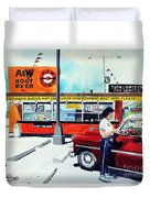 Red Car At The A And W Duvet Cover