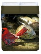 Red Cardinal Bathing Duvet Cover