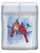 Red Cardinals Duvet Cover
