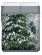 Red Cedar And Snow Duvet Cover