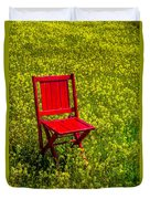 Red Chair Amoung Wildflowers Duvet Cover