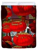 Red Chinese Lanterns Duvet Cover