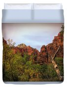 Red Cliffs Mountains Zion National Park Utah Usa Duvet Cover