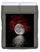 Red Cloud With Moon Over Water Duvet Cover