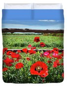 Red Corn Poppies At The Fence Duvet Cover