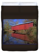 Red Covered Bridge And Reflection Duvet Cover