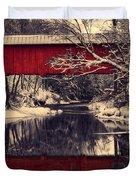 Red Covered Bridge In Winter Duvet Cover