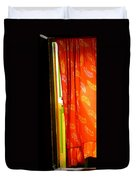 Red Curtain In The Doorway Duvet Cover