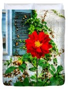 Red Dahlia By Window Duvet Cover