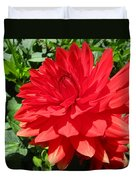 Red Dahlia In The Green Duvet Cover
