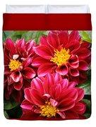 Red Dahlias Duvet Cover