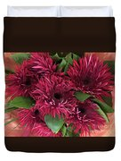 Red Daisies Bouquet Duvet Cover