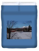 Red Dam And Percy Peaks In Winter Duvet Cover