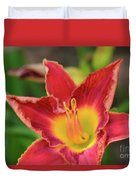 Red Daylily Duvet Cover