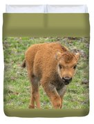 Red Dog Bison In Yellowstone Duvet Cover