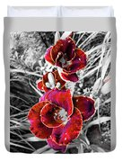 Red Double Lily Duvet Cover