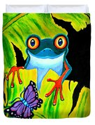 Red Eyed Tree Frog And Purple Butterfly Duvet Cover