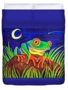 Red-eyed Tree Frog And Starry Night Duvet Cover