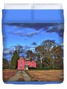 Red Farm House Duvet Cover