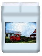Red Farm Truck Duvet Cover