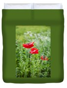 Red Field Poppies Duvet Cover