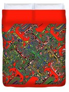 Red Five Wave Abstract Duvet Cover