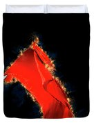 Red Flag On Black Background Duvet Cover