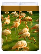 Red Florida Flamingos In Green Water Duvet Cover