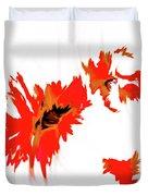 Red Floating Florals Duvet Cover