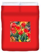 Red Floral Abstract Duvet Cover