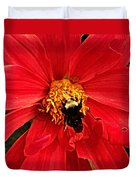 Red Flower And Bee Duvet Cover