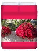 Red Flower Bushes Duvet Cover