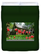Red Flowers In Central Park Duvet Cover