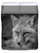 Red Fox In Black And White Duvet Cover
