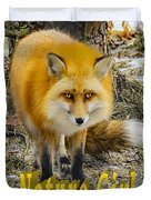 Red Fox Nature Girl Duvet Cover