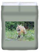 Red Fox Vixen Brings Home A Meal Duvet Cover