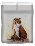 Red Fox Waiting On Breakfast Duvet Cover