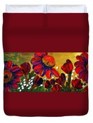 Red Garden Duvet Cover
