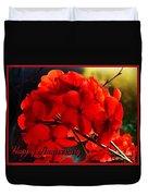 Red Geranium Anniversary Greeting Duvet Cover