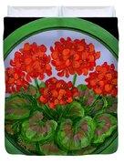 Red Geranium On Wood Duvet Cover