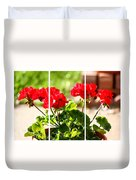 Red Geraniums Triptych Duvet Cover