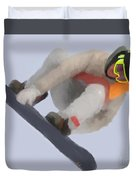 Red Gerard Snowboarding Gold Duvet Cover