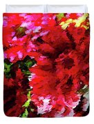 Red Gerbera Daisy Abstract Duvet Cover