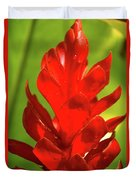 Red Ginger Bud After Rainfall Duvet Cover