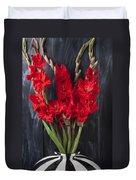 Red Gladiolus In Striped Vase Duvet Cover