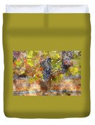 Red Grapes On The Vine During The Fall Season Duvet Cover