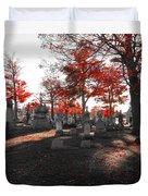 Red Fall Graveyard Duvet Cover