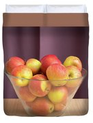 Red Green Apples In A Glass Bowl Duvet Cover