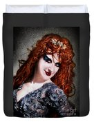 Red Hair, Gothic Mood. Model Sofia Metal Queen Duvet Cover