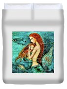 Red Hair Mermaid Mother And Child Duvet Cover